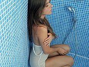 Super cute teen in shower!