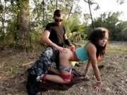 Amateur teen handcuffed and wrecked hard in the woods
