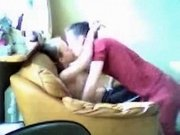 Amateur teen couple fucking on sofa