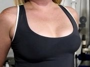 Random girls flash their nice perky titties in the gym