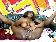 Flexible ebony whore with big boobs puts on a great show for me on cam