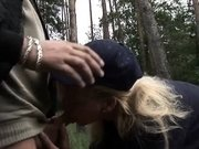 Raunchy Betina gets fucked in the woods