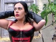 Busty Leather Corset Slut with Black Gloves - Outdoor Blowjob Handjob - Fuck my Mouth - Cum on my Long Leather Gloves