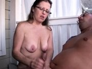 Mature housewife wanking her hubby outdoors