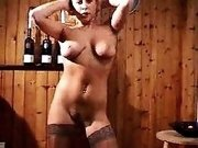 Hot striptease solo of my voluptuous wife on webcam