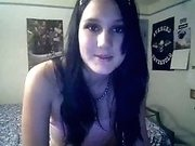Very cute goth girlfriend shows me her naked body on webcam