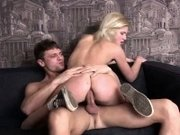 A, blonde coed bends over and punches her within the butt