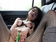 Latina in lingerie webcam masturbation in the car