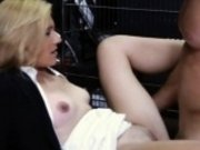 Hot blonde milf pounded by horny pawn keeper in storage room