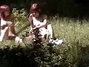 I spied and filmed two nudist chicks in the woods all naked sunbathing