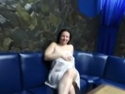 Girl Masturbates On A Blue Couch