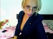 Nerdy blonde and her big fat dildo