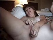 Concupiscent aged wife anal masturbating