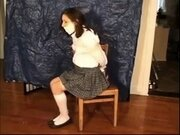 Teen amateur in uniform pounded by an old man