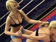Wrestling lesbians enjoy oral session