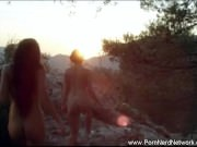 Lesbian Girlfriends and Nature Lover Lick And Finger Each Other On The Rock