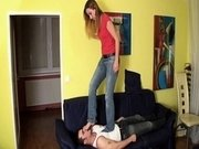 Femdom Girls trample slaves in socks