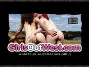 Girls Out West - Aussie chick fiddles with her hairy holes
