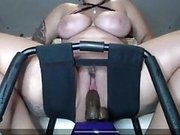 Riding big dildo